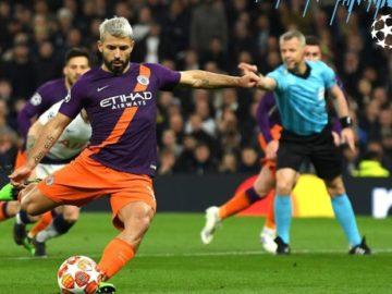 Penyerang Manchester City, Sergio Aguero, gagal mengeksekusi tendangan penalti dalam laga leg I babak perempat final Liga Champions kontra Tottenham Hotspur di Tottenham Hotspur Stadium, 9 April 2019.