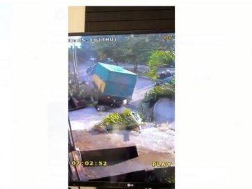 Video Detik-detik Kecelakaan Maut Truk Mundur Lindas Motor Beredar di WhatsApp, Pohon sampai Roboh