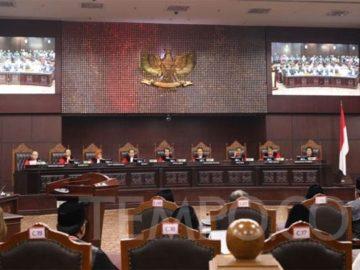 Suasana sidang pembacaan putusan Perselisihan Hasil Pemilihan Umum (PHPU) sengketa Pilpres 2019 di MK, Jakarta, Kamis, 27 Juni 2019. TEMPO/Ridian Eka Saputra