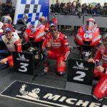 Para Pembalap Ducati, Jack Miller (kiri), Danilo Petrucci (tengah) dan Andrea Dovizioso (kanan)