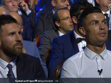 Kapten FC Barcelona, Lionel Messi, dan Megabintang Juventus, Cristiano Ronaldo, dalam malam penganugerahan UEFA Awards, Monako, 29 Agustus 2019.