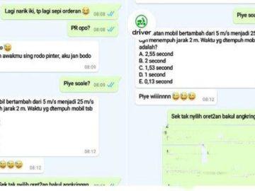 VIRAL Driver Ojol Kerjakan Soal Matematika via Whatsapp (WA) Saat Sepi Order, Lihat Hitungannya
