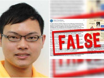 Alex Tan, editor States Times Review, pada Kamis menolak untuk mematuhi perintah Kantor Pofma untuk memperbaiki pernyataan palsu di unggahan Facebook-nya.[gov.sg/The Straits Times]