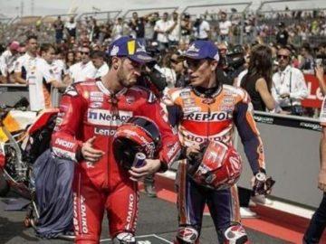 Ekspresi Andrea Dovizioso dan Marc Marquez usai MotoGP Aragon. (Instagram/dovi04indonesia)